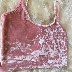 15f45114a7401b Topshop Tops - Topshop Pink Crushed Velvet Strappy crop top